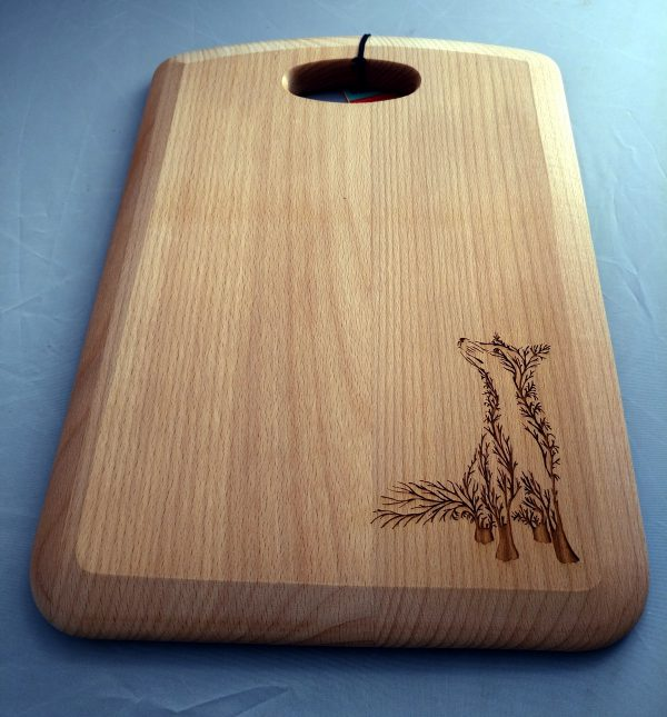Chopping board with a laser engraved fox