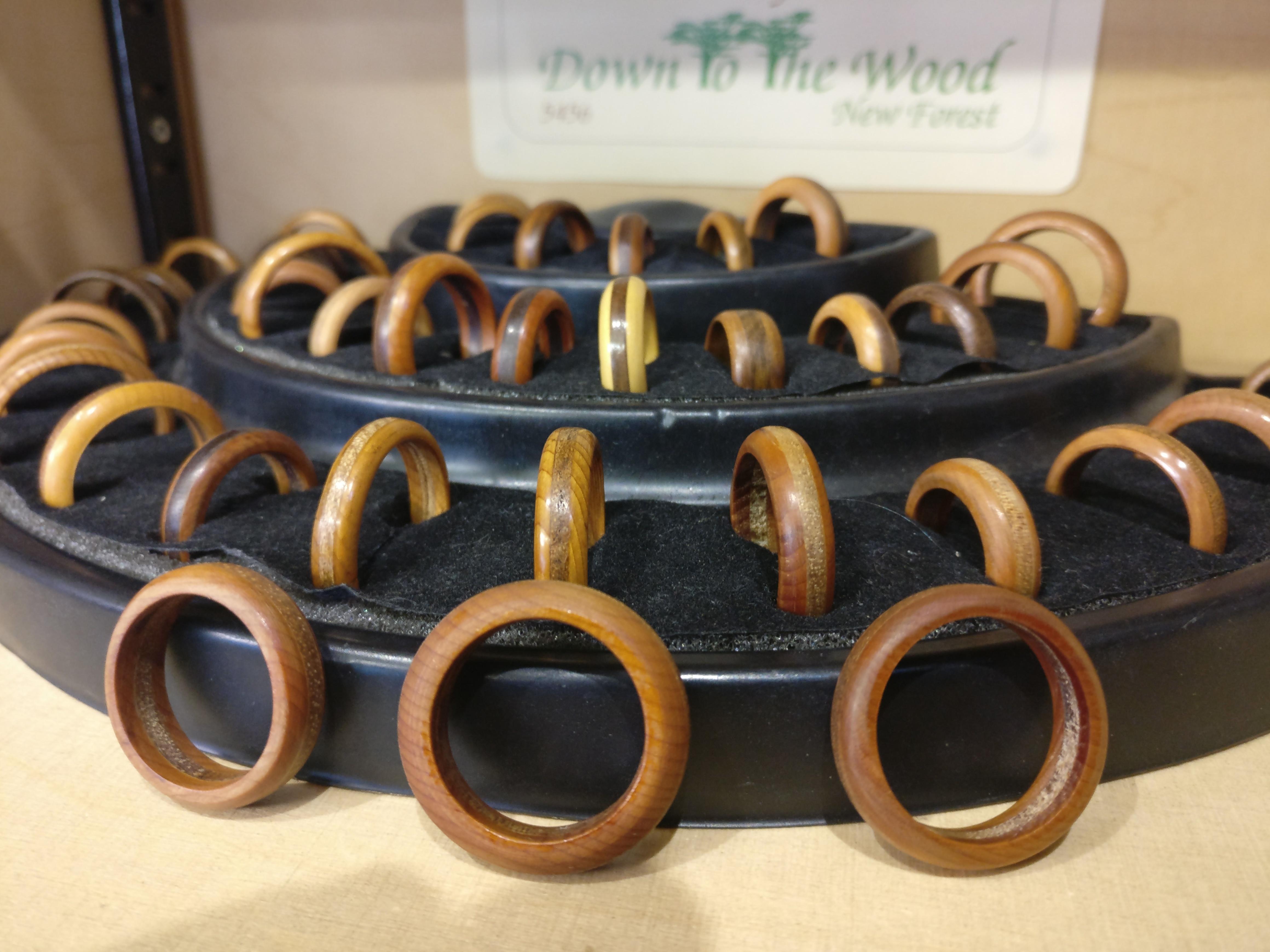 Display of wooden rings