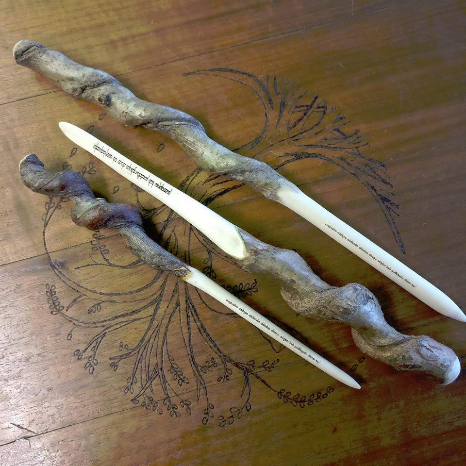 Wooden wand with engraved Elvish