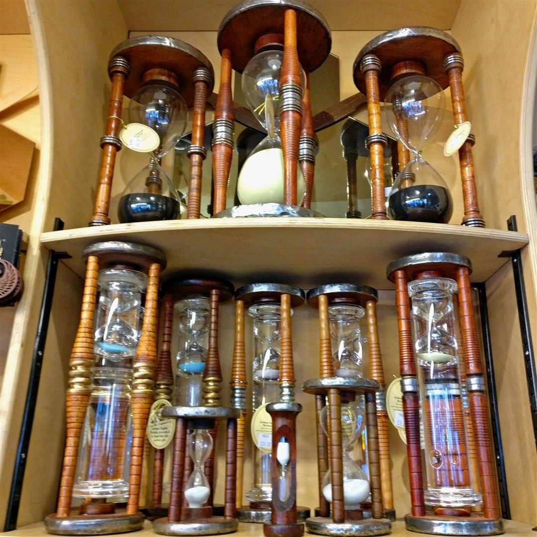 A display of hourglasses