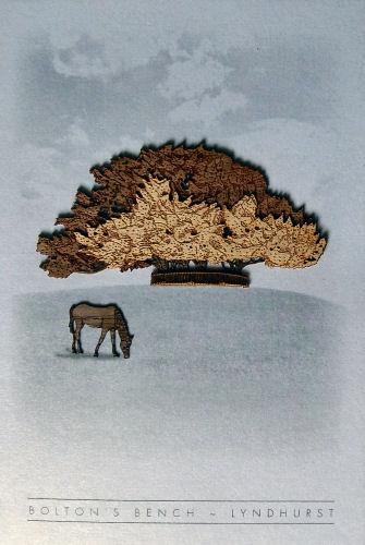 A greetings card with wood veneer image