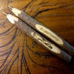 Pyrographed and laser engraved pens